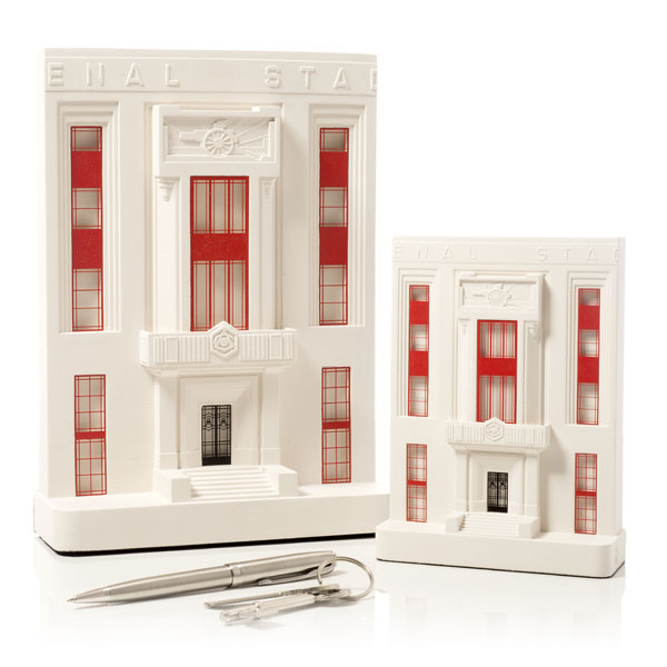 Arsenal Stadium Model. Product Shot Front View. Architectural Sculpture by Chisel & Mouse
