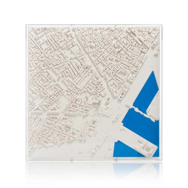 barcelona Cityscape Framed 5000 Model. Product Shot Front View. Architectural Sculpture by Chisel & Mouse